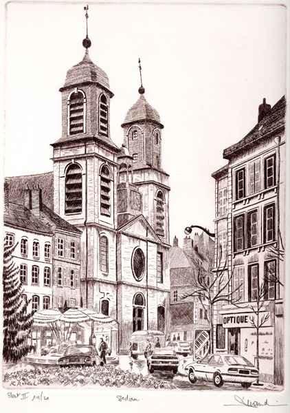 56 Sedan - Église Saint Charles, Eau-forte, 28x38 cm