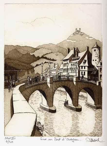 144 Sur Un Pont d'Aveyron, Eau-forte et aquatinte, 28x38 cm