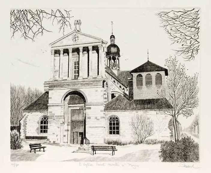 99 Troyes - Église Saint Martin, Eau-forte et aquatinte, 40x50 cm