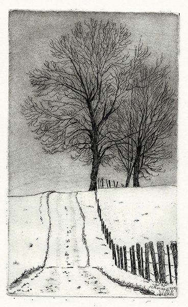 241 Un Chemin Dans Les Crêtes, Eau-forte et pointe-sèche, 30x19 cm