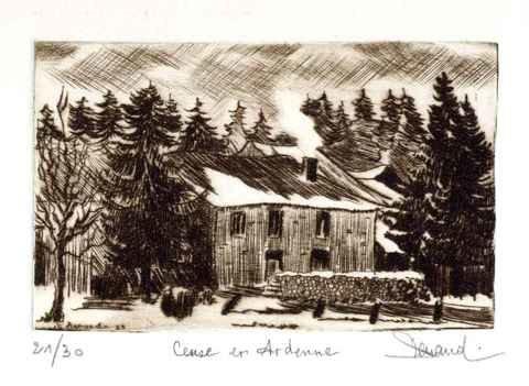127 Une Cense En Ardenne, Pointe-sèche, 18x24 cm