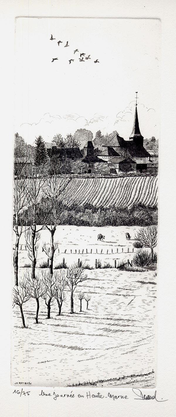 128 Une Journée En Haute-Marne, Eau-forte, 28x38 cm